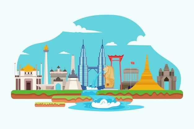 Asean gebouwen illustratie Premium Vector