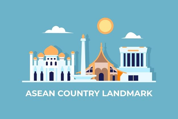 Asean-gebouwen uit verschillende landen Gratis Vector