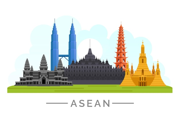 Asean-gebouwen Premium Vector