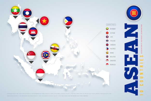 Asean kaart illustratie Gratis Vector
