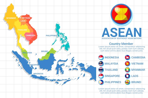 Asean-kaart in verschillende kleuren Gratis Vector