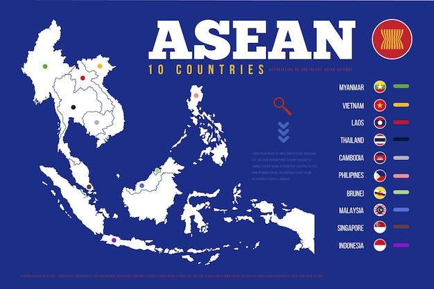 Asean kaart infographic Gratis Vector