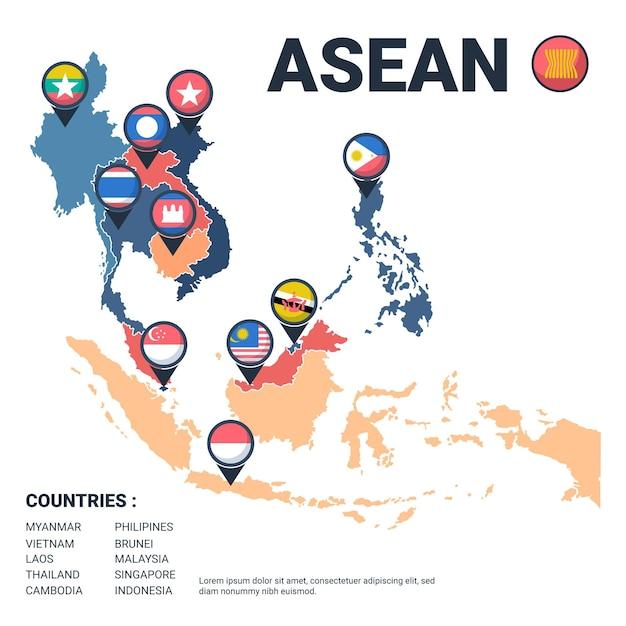 Asean-kaart met geïllustreerde vlaggen Premium Vector