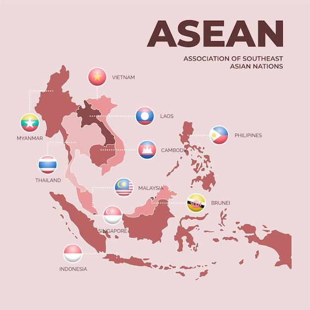 Asean samenwerking landen kaart Gratis Vector