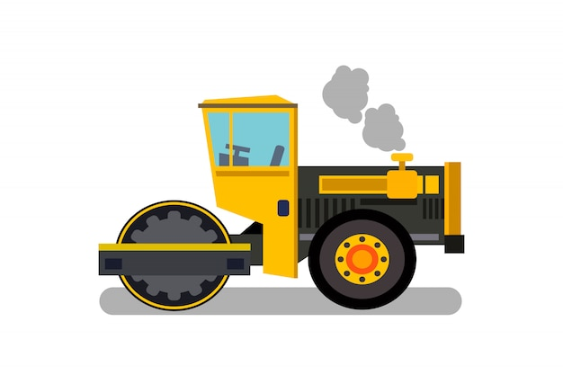 Asfalt betonmolen, steamroller vlakke kleur illustratie Premium Vector