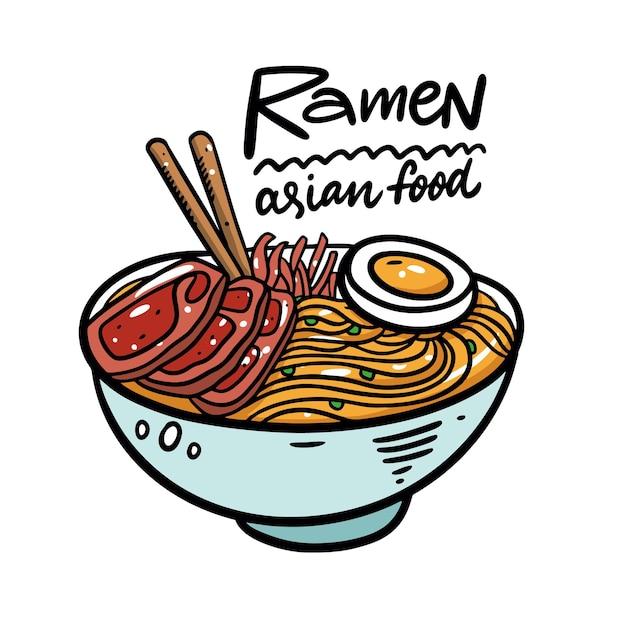 Asia noodle in diepe kom illustratie Premium Vector