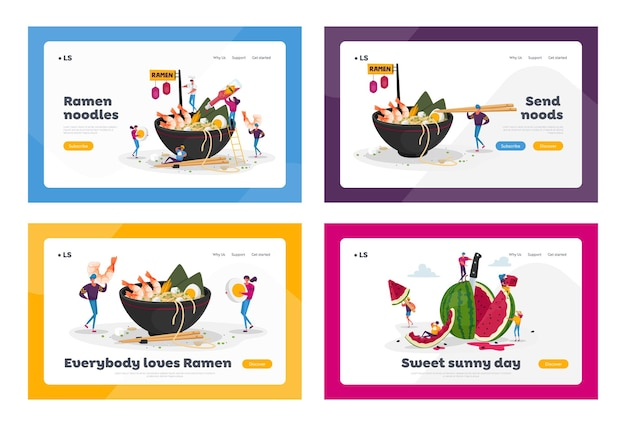 Asian food cafe, watermeloen snack landing page template set Premium Vector