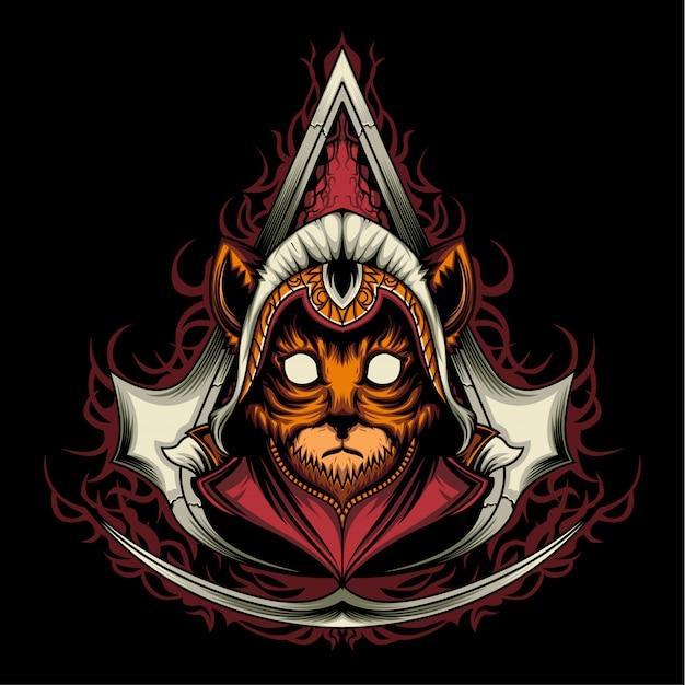 Assassin creed kitten Premium Vector