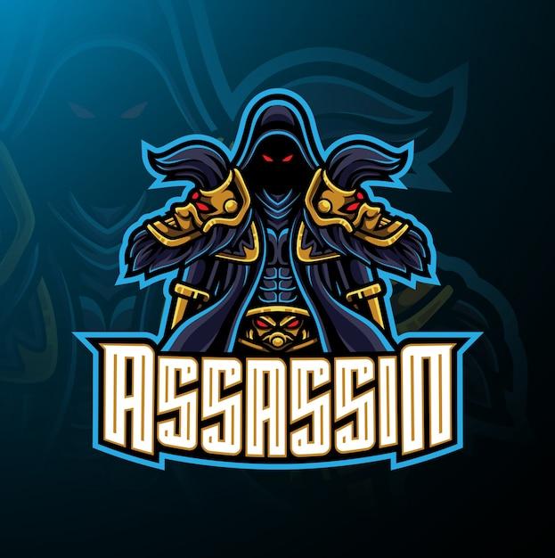 Assassin sport mascotte logo ontwerp Premium Vector