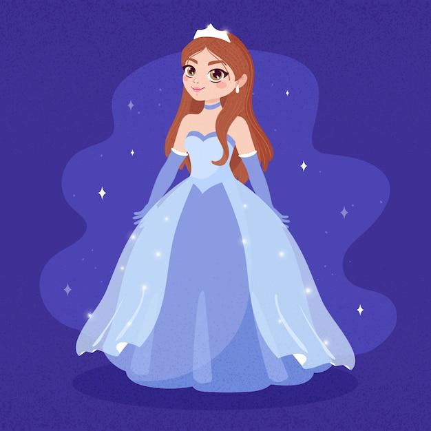 Assepoester in een blauwe lange jurk Gratis Vector