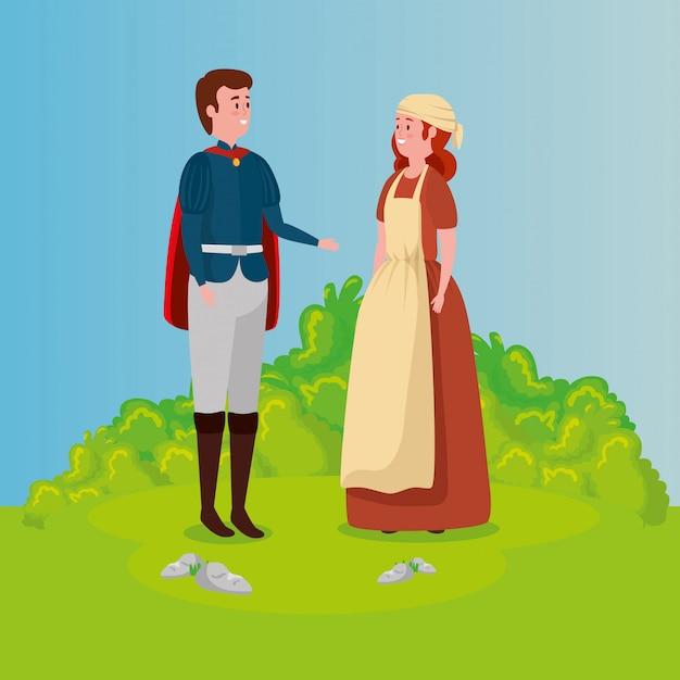 Assepoester met prins in scène-sprookje Gratis Vector
