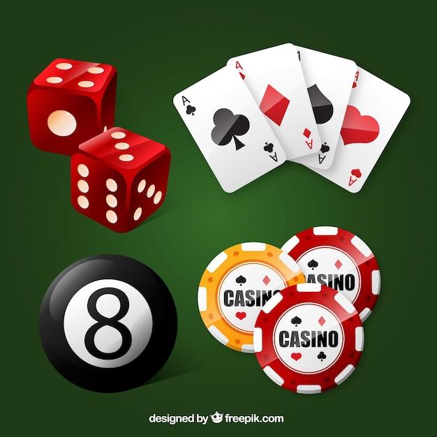 Assortiment casino elementen Gratis Vector