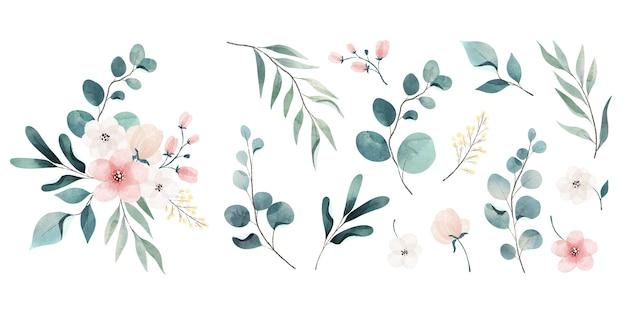 Assortiment van aquarel bladeren en bloemen Gratis Vector