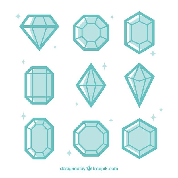 Assortiment van diamanten in plat design Gratis Vector