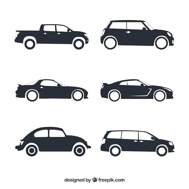 Assortiment van fantastische auto silhouetten Gratis Vector