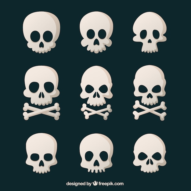 Assortiment van negen schedels in vlakke bouwvorm Gratis Vector