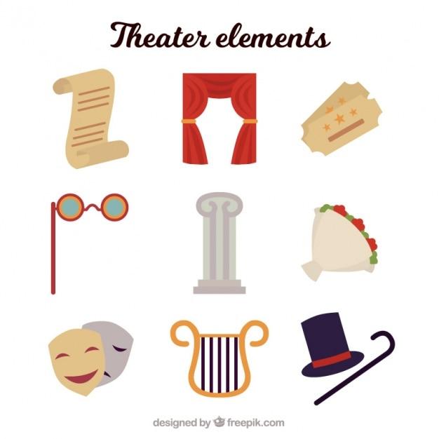 Assortiment van negen theater elementen Gratis Vector