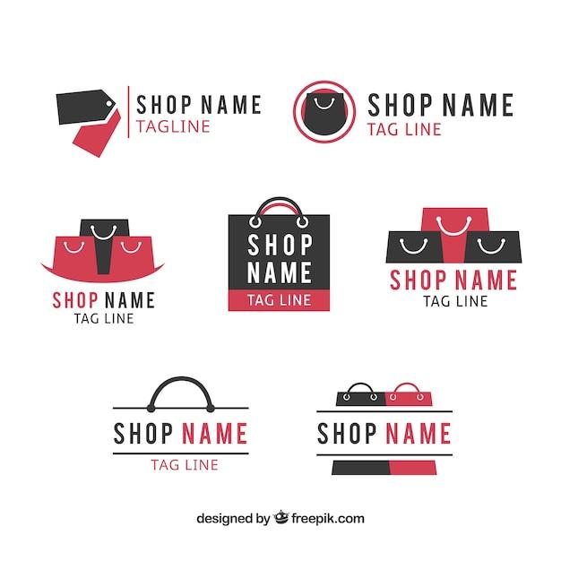 Assortiment van platte logo's voor winkels Gratis Vector