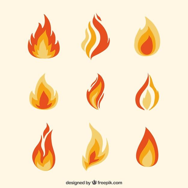 Assortiment van platte vlammen in oranje tinten Gratis Vector