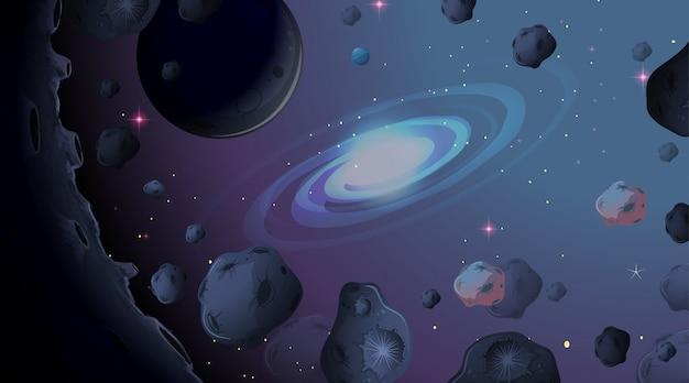 Asteroïde op ruimteachtergrond Gratis Vector