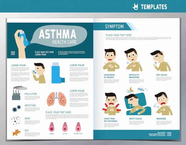 Astma infographic. wellness plat cute cartoon afbeelding. Premium Vector