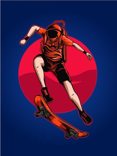 Astro skate space illustratie Premium Vector