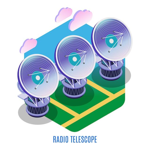Astrofysica isometrische achtergrondsamenstelling met astronomische interferometerserie van afzonderlijke radiotelescopenantennes die illustratie samenwerken Gratis Vector