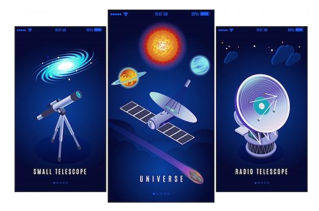 Astrofysica ruimteonderzoek wetenschapsmissie 3 verticale isometrische banners met radio en kleine optische telescopenillustratie Gratis Vector