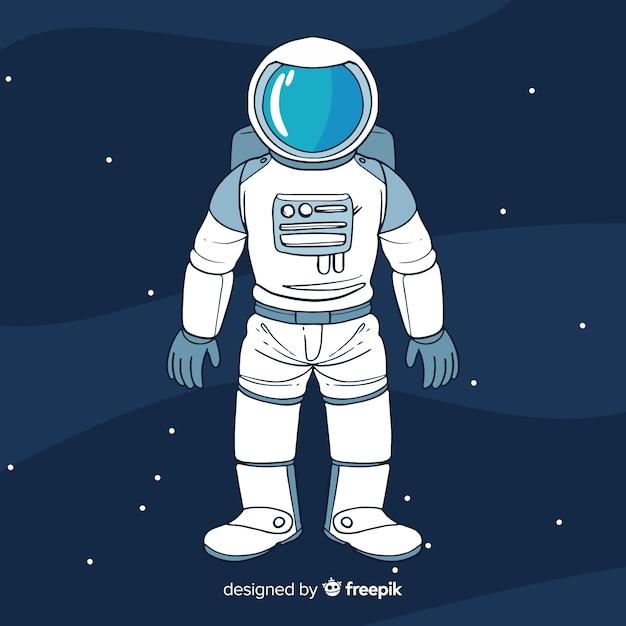 Astronaut achtergrond in de ruimte Gratis Vector