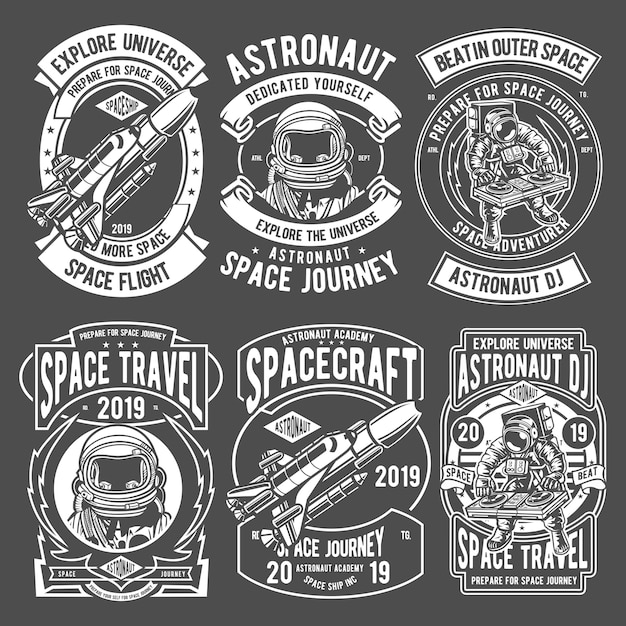 Astronaut badges-logo Premium Vector