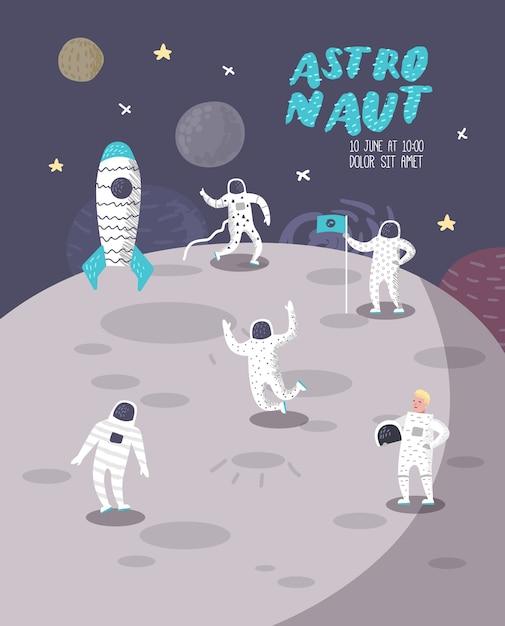 Astronaut characters poster, banner met sterren en raket. kosmonaut in ruimte en ruimteschip. Premium Vector