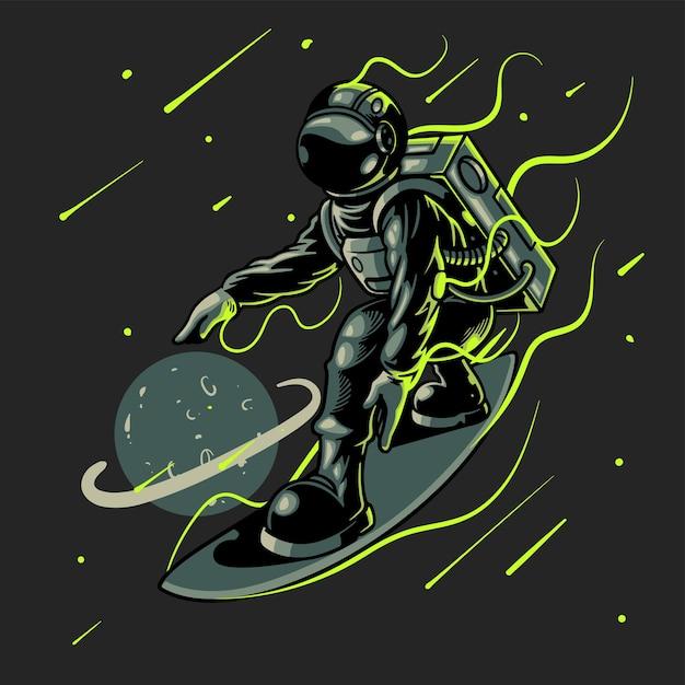 Astronaut die op zwarte ruimteachtergrond surft Premium Vector