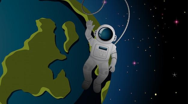 Astronaut en aarde achtergrond Gratis Vector