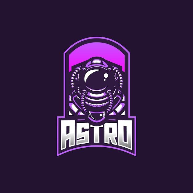 Astronaut esport gaming mascotte logo sjabloon voor streamer team. Premium Vector