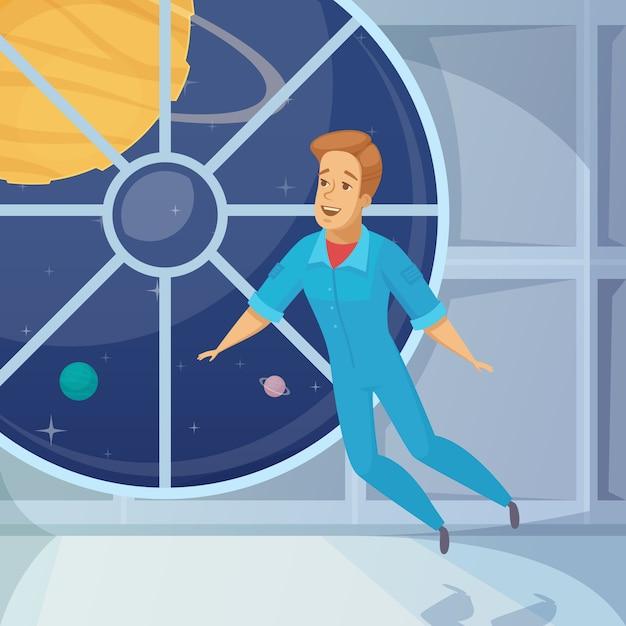Astronaut gewichtloze ruimte cartoon Gratis Vector