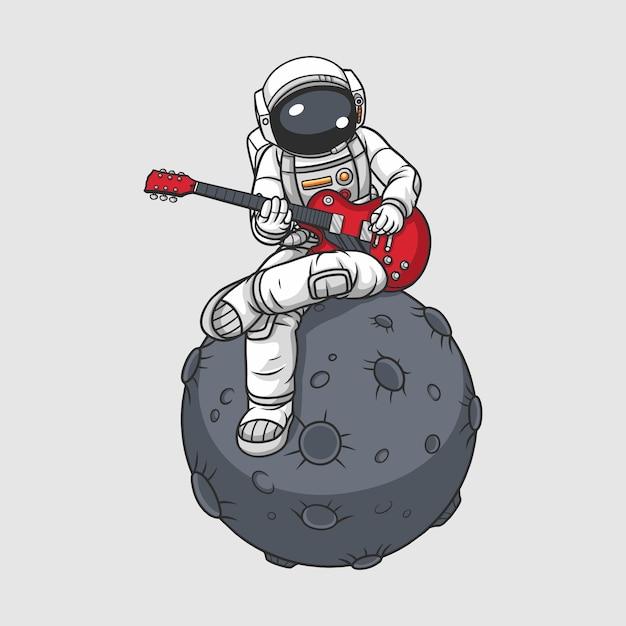 Astronaut gitaar spelen op de maan, Premium Vector