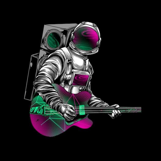 Astronaut gitaar spelen op ruimte illustratie Premium Vector