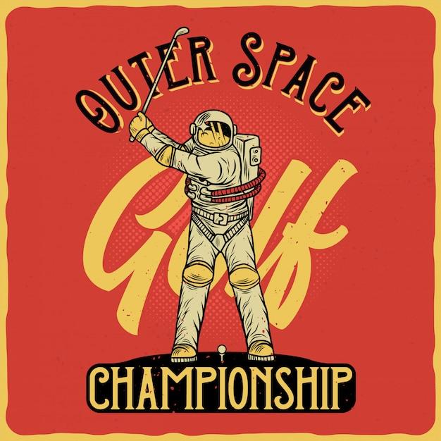 Astronaut golfen Premium Vector
