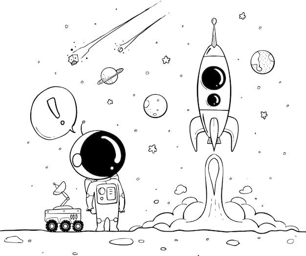 Astronaut hand getrokken Premium Vector