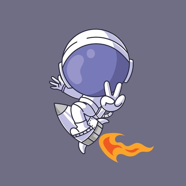 Astronaut illustratie Premium Vector
