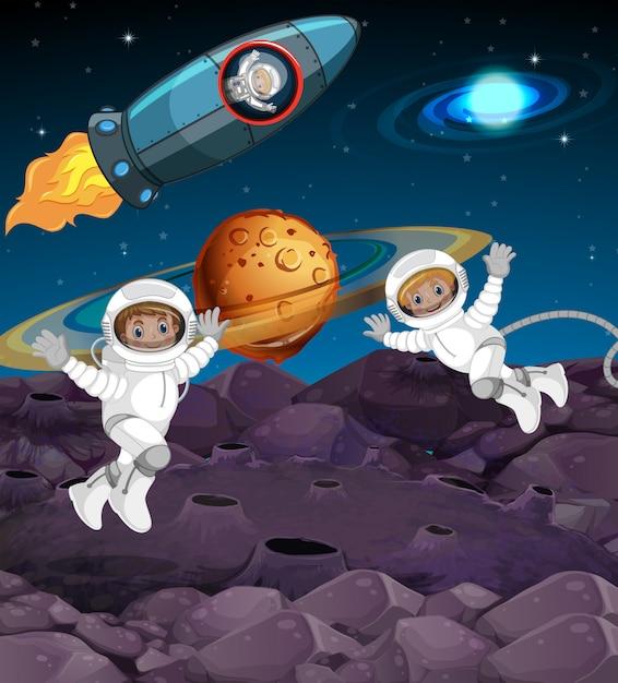 Astronaut in de ruimte Gratis Vector