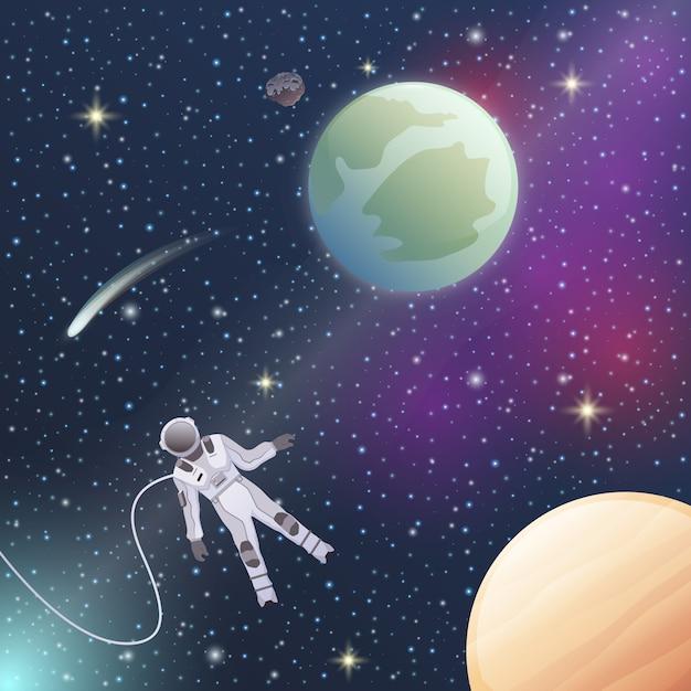 Astronaut in de ruimteillustratie Gratis Vector
