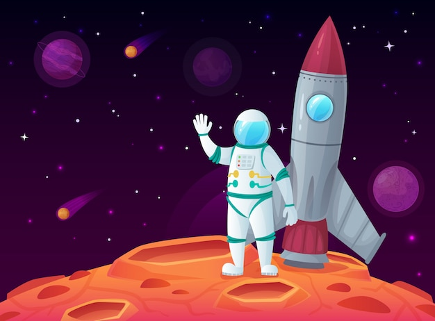 Astronaut in maanoppervlak, raket ruimteschip, ruimteplaneet en buitenruimte cartoon reizen ruimtevaartuig Premium Vector