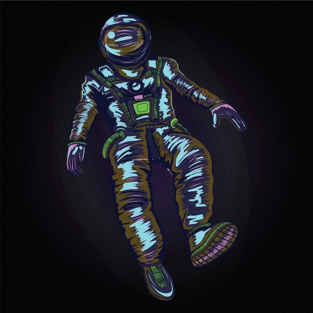 Astronaut in ruimtepak op de ruimte Premium Vector