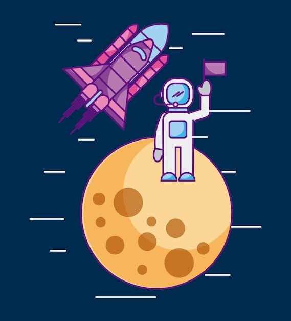 Astronaut met vlag op een andere planeet ruimtemissie raket Premium Vector