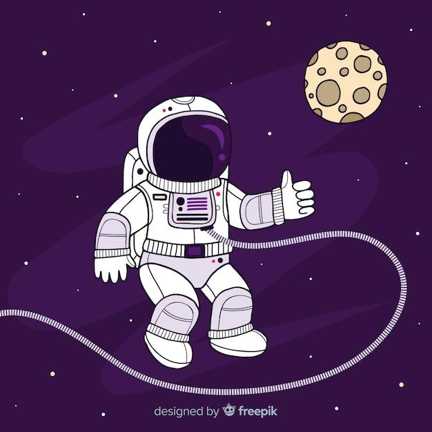 Astronaut op maan achtergrond Gratis Vector