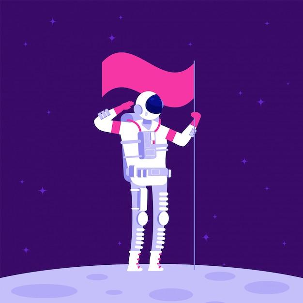 Astronaut op maan. kosmonaut holging vlag op levenloze planeet in de ruimte. Premium Vector