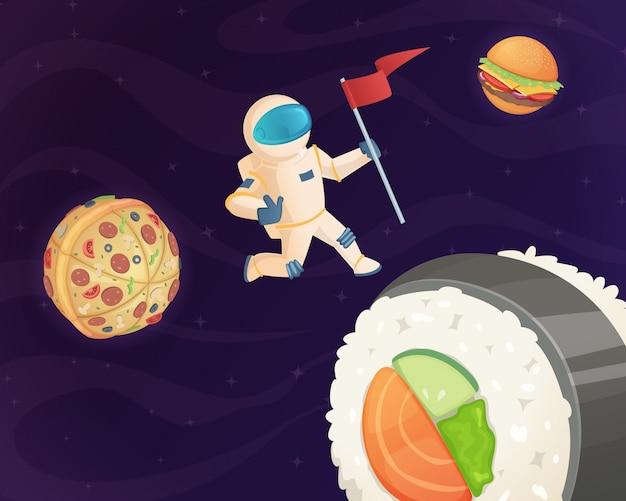 Astronaut op voedselplaneet, fantasieruimtewereld met snoep fastfood hamburger pizza en verschillende snoep sterren fantastische hemelachtergrond Premium Vector
