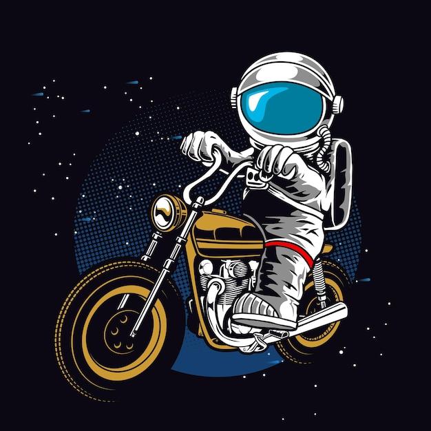 Astronaut rijden motorfiets Premium Vector