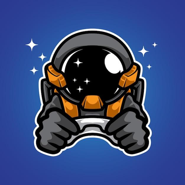 Astronaut ruimte gamer mascotte logo Premium Vector